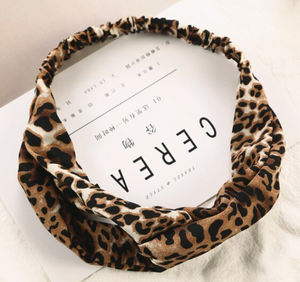 Cross Knot Leopard Print Turban Headband Elastic - 1 Piece