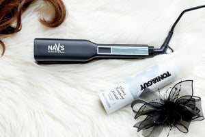 MATT BLACK WIDE PLATE NAV's HAIR TITANIUM  + SMART TECHNOLOGY STYLING IRON