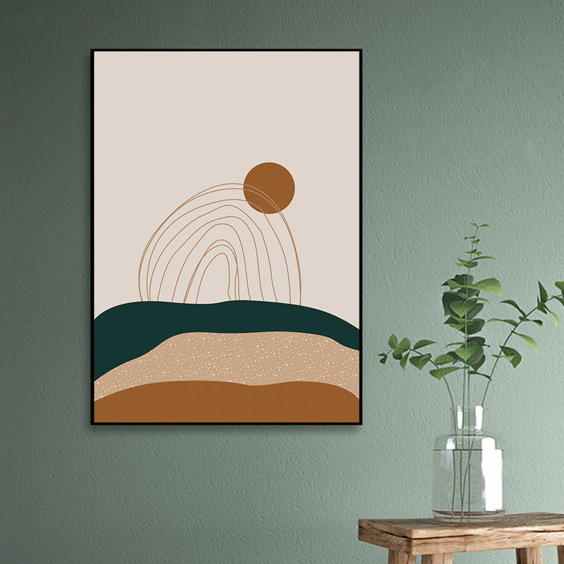 Vintage Mountain Sun Rainbow Painting