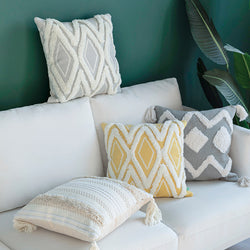 Ivory Tassels Cushion Cover