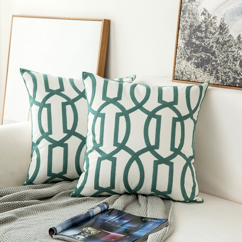 Geometric Floral Canvas Cushion Cover