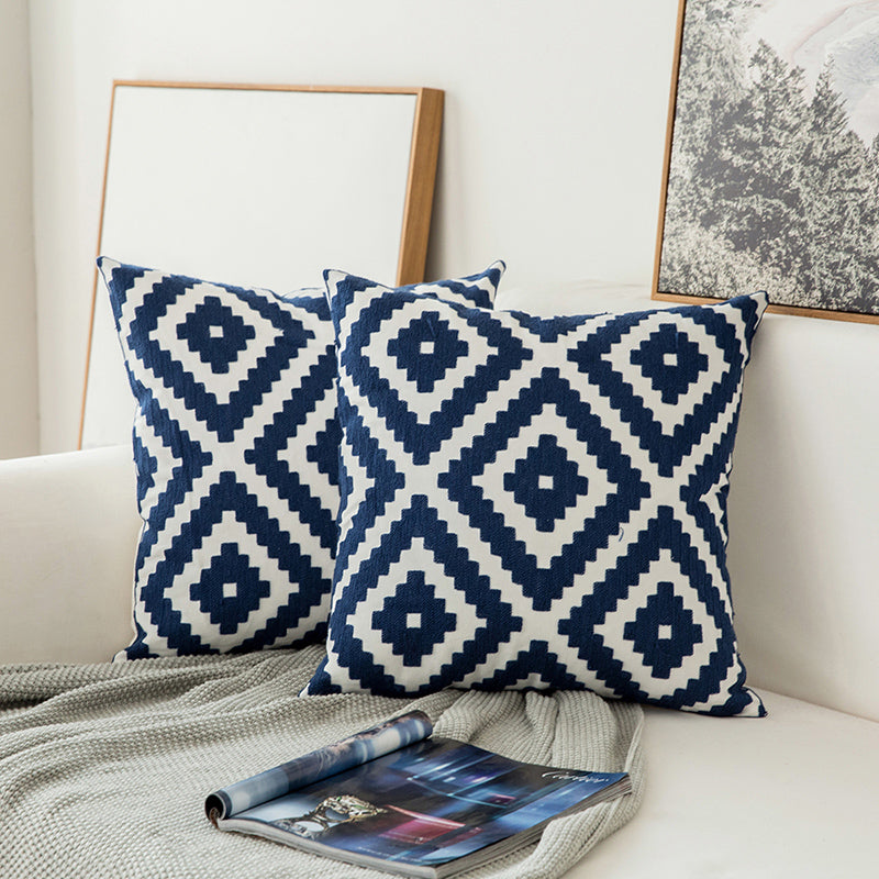 Blue Floral Canvas Cushion Cover