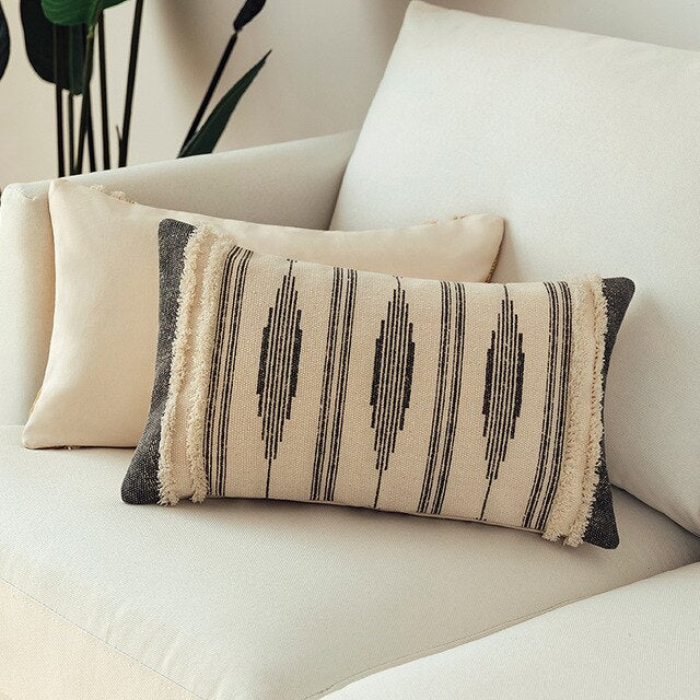 Cotton Woven Tufted Pillow Cover