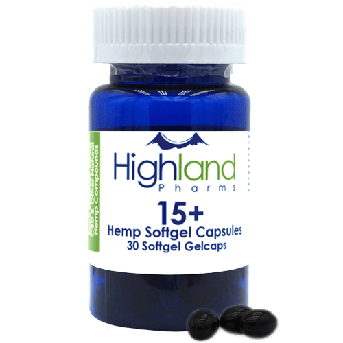 Highland Pharms 15+ Hemp Softgel Capsules 15mg, 30ct