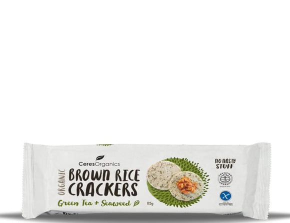 Organic Brown Rice Crackers - Green Tea & Sea Weed 115g