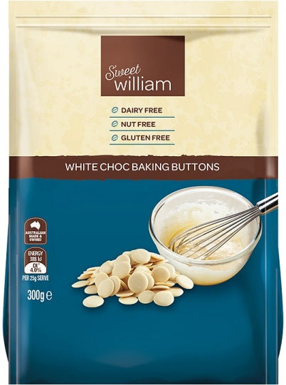 White Choc Baking Buttons G/F 300g