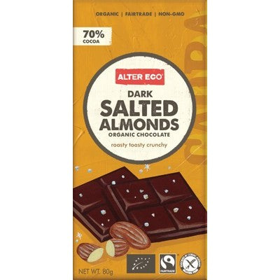 Salted Almonds Organic Chocolate 80g