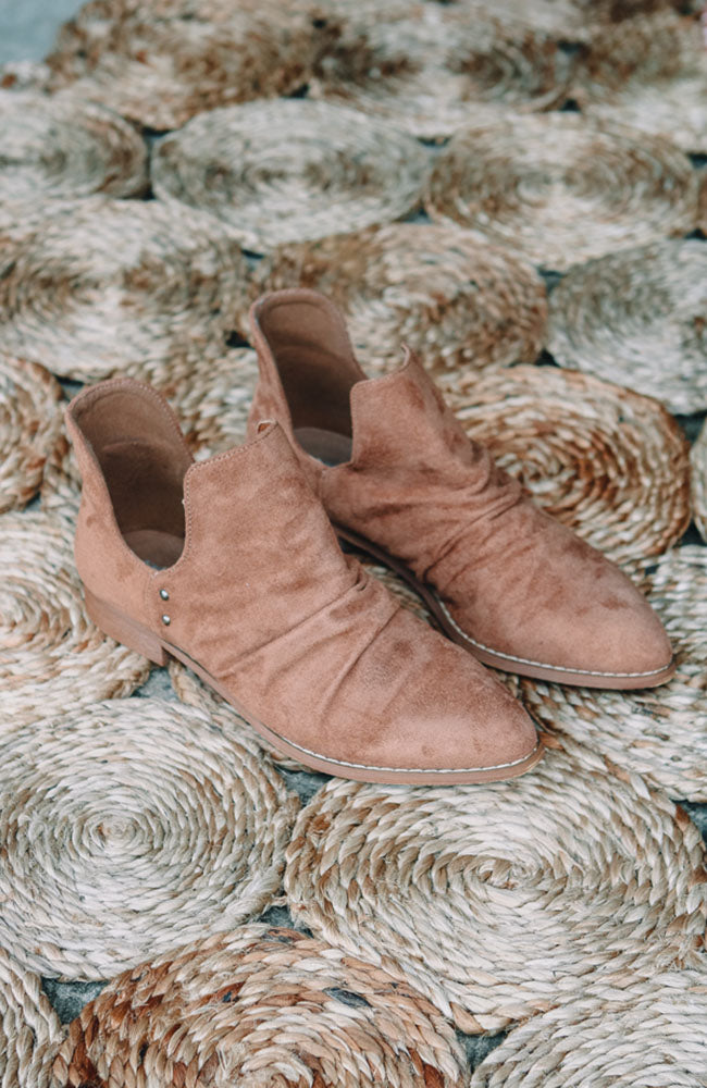 Suede Cut Out Ankle Bootie