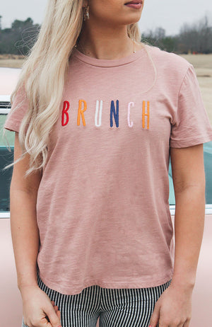 """Brunch"" Embroidered Tee"