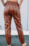 Faux Leather Snake Skin Joggers
