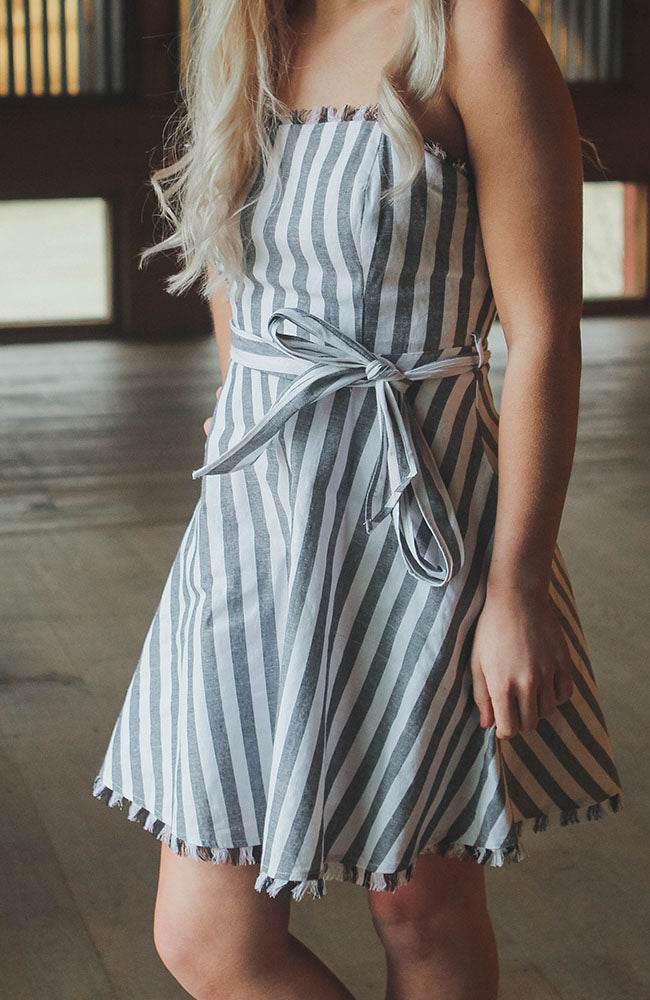 Stripe Frayed Mini Dress