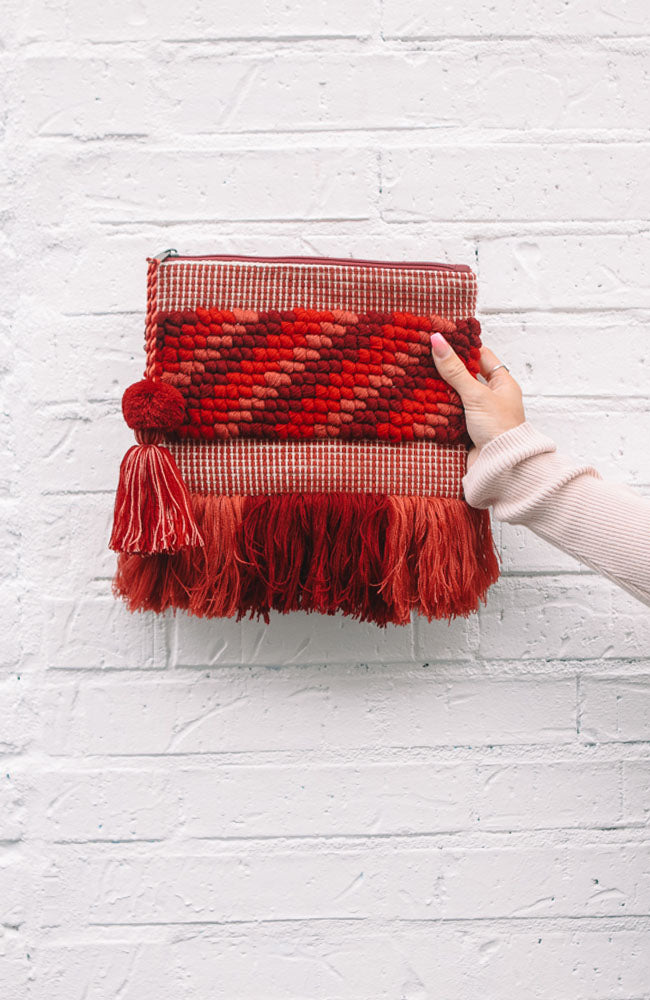 Fringe Bottom Pom Bag