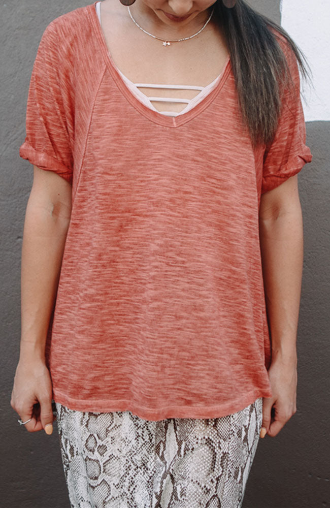 Washed Jersey Knit Top