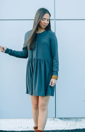 Button Tunic Placket Dress