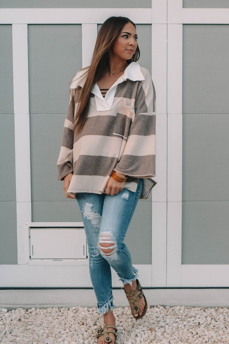 Big Collar Striped Top