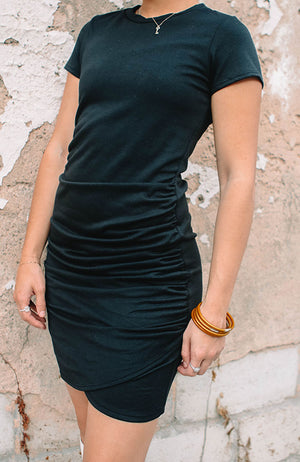 Solid Ruched Casual Dress