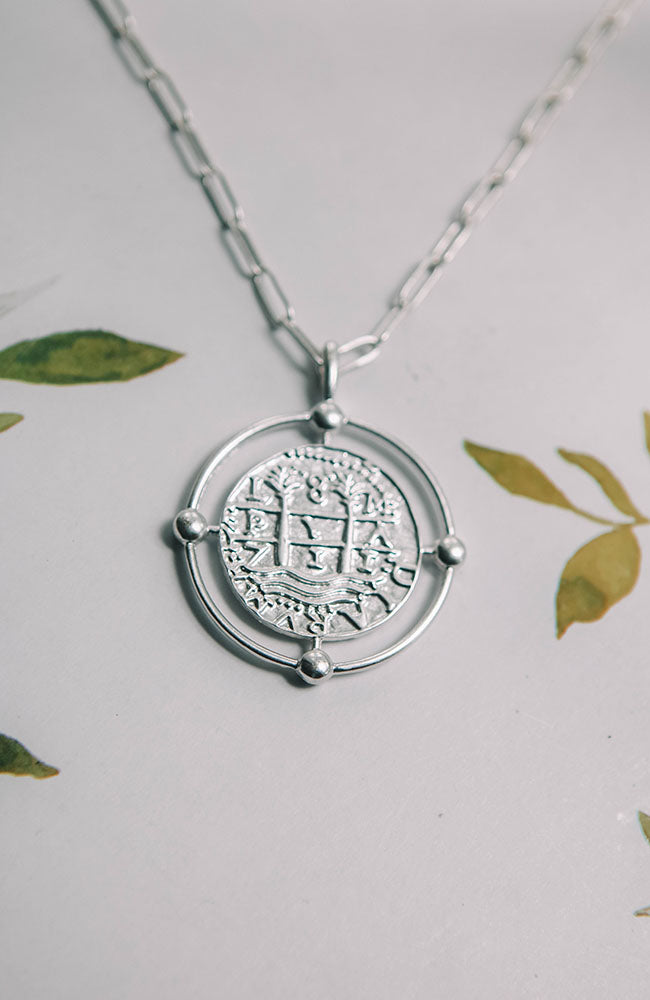 Chain Coin Silver Necklace