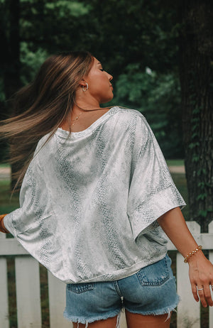 Snakeskin Dolman Sleeve Top