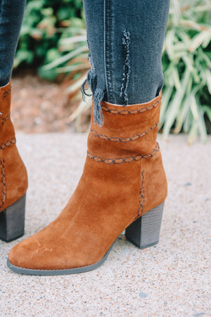 Rust Suede Embroidered Booties