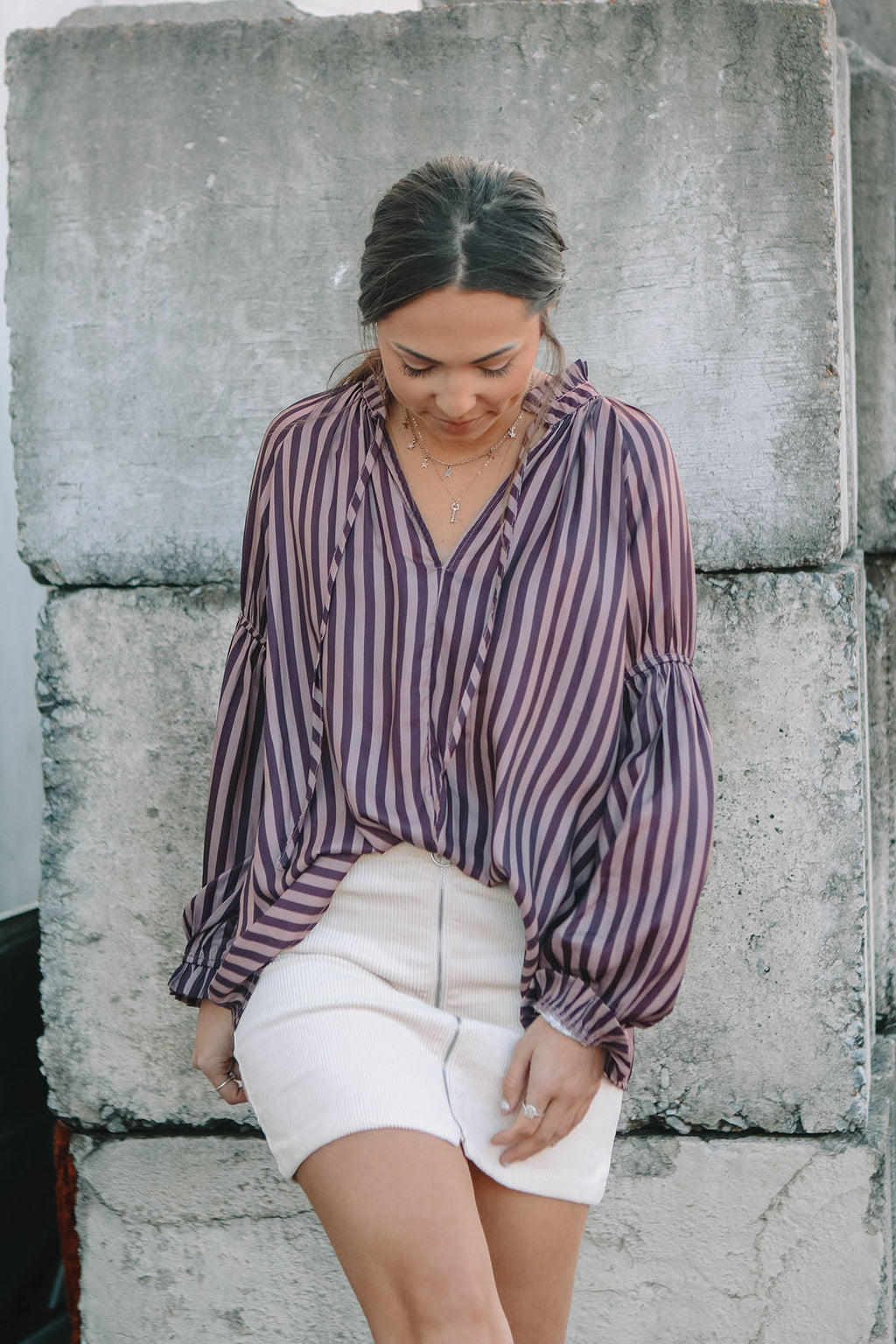 Striped Merlot Blouse
