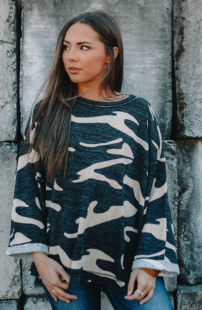 Black Camo Oversized Top