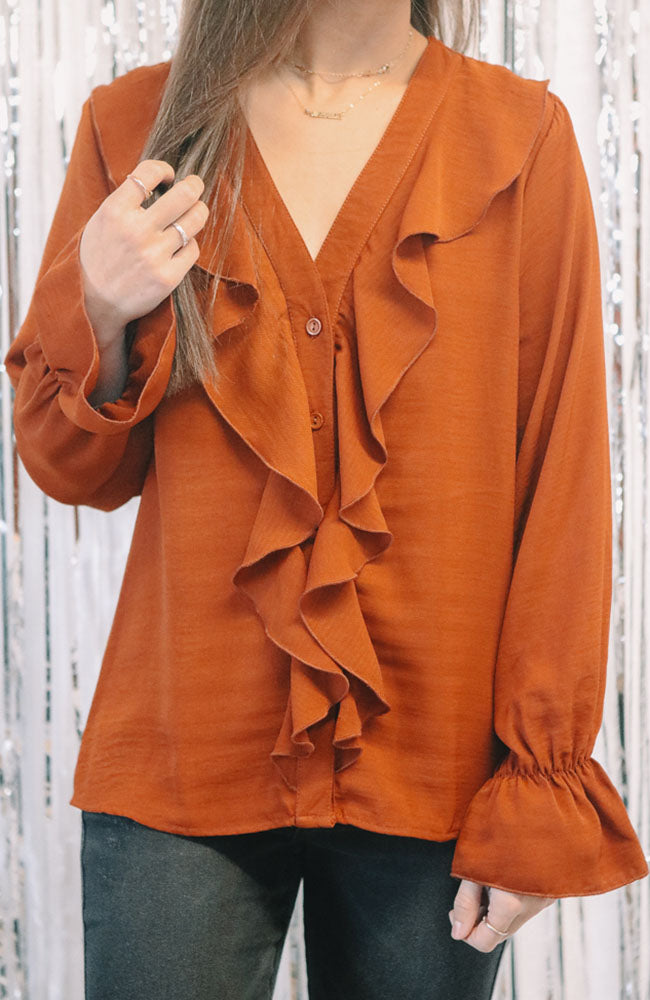 Placket Rust Ruffle Blouse