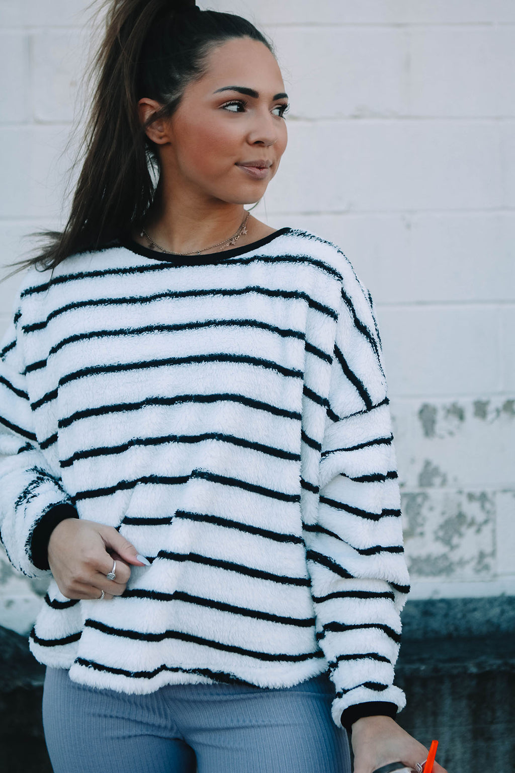 Fuzzy Striped Sweatshirt