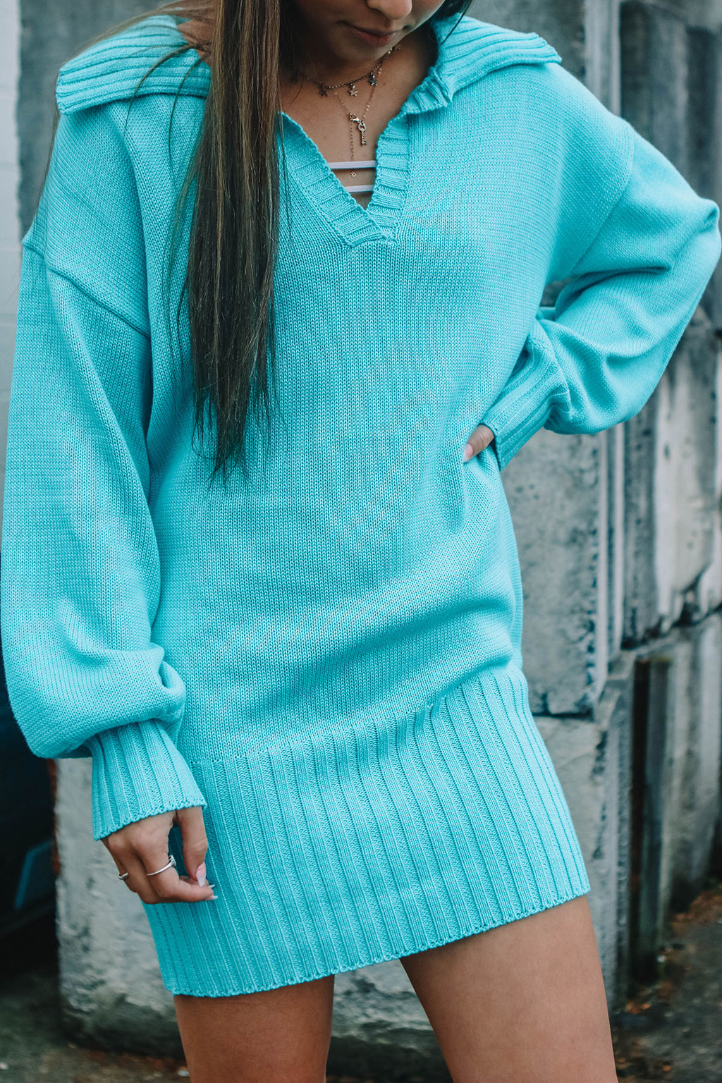 Turquoise Sweater Dress