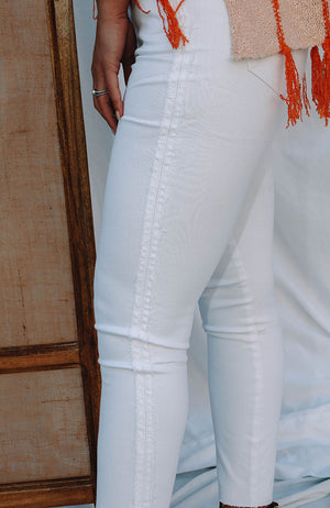 Optic Side Fringe Jeans