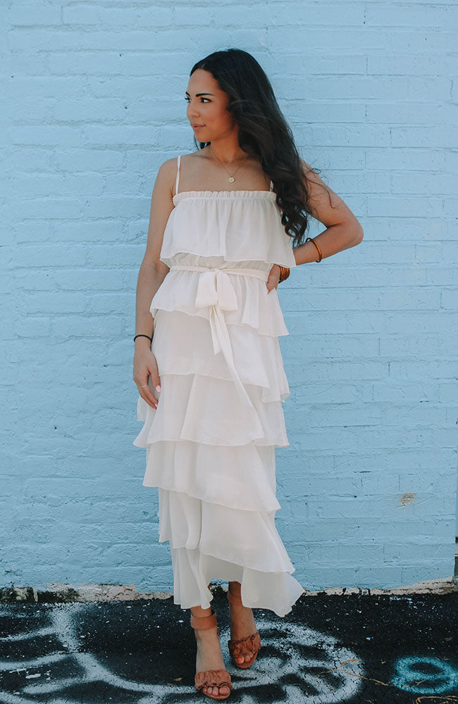 White Ruffled Cami Dress