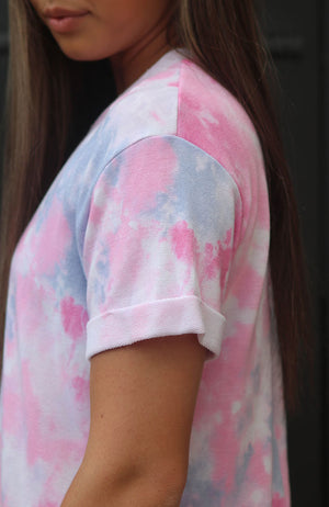 Tie Dye Cuffed Sleeve Top (S-XL)