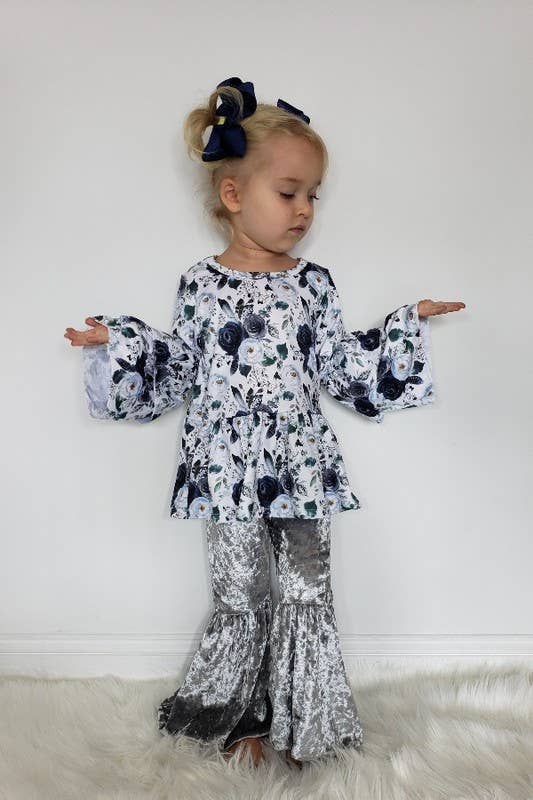 Navy Silver Boho Girls Set