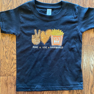 Whataburger peace love fries kids Tee