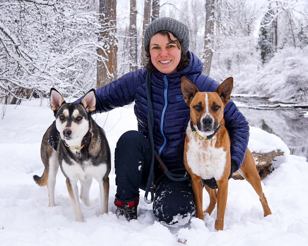 The WanderDog Designs Family- Owner with rescue dogs