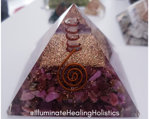 Orgone Generator Large Pyramid, Ruby Record Keeper, Orgonite, Crystals, Crystal Healing, Copper, Gold, Metal, Okotoks, Calgary, Foothills