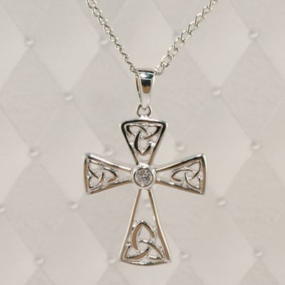 Trinity knot cross pendant with stone