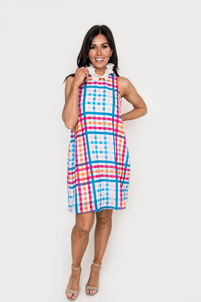 Women wearing Happy Place Chiffon Ruffle Neck Dress in Happy Gingham
