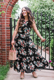 The DoubleTake Girls Belted Maxi Dress summer bouquet