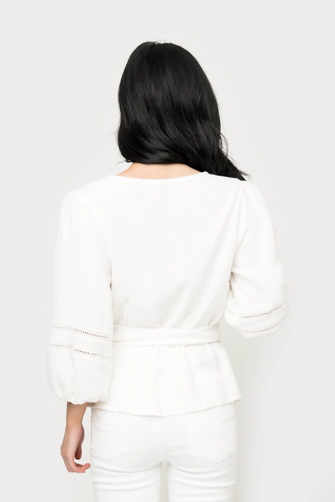 Women wearing Trim Surplice Wrap Top in Ivory