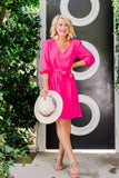 Cassie Sugarplum wearing Blissful Blouson Sleeve V-Neck Dress in Lipstick