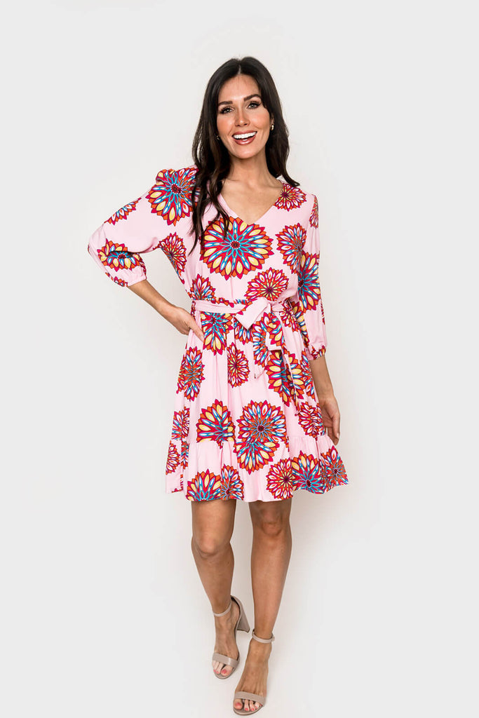 Women wearing Blissful Blouson Sleeve V-Neck Dress in Floral Medallion