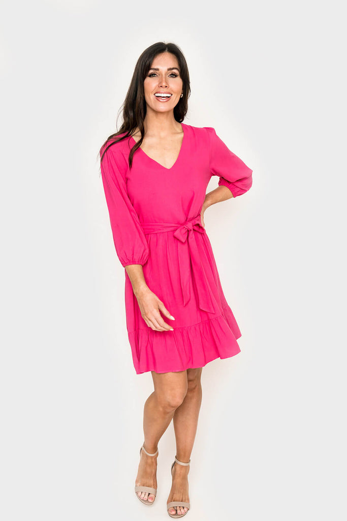 Women wearing Blissful Blouson Sleeve V-Neck Dress in Lipstick