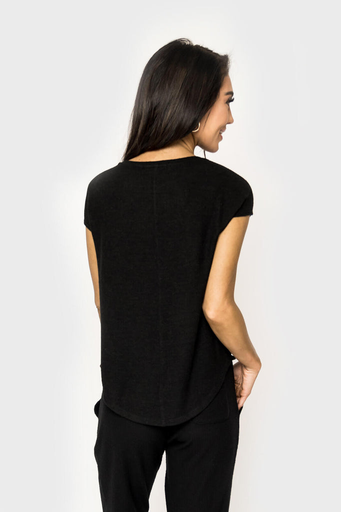 women wearing Chelsea Cozy Gathered Neck Cap Sleeve Top in black