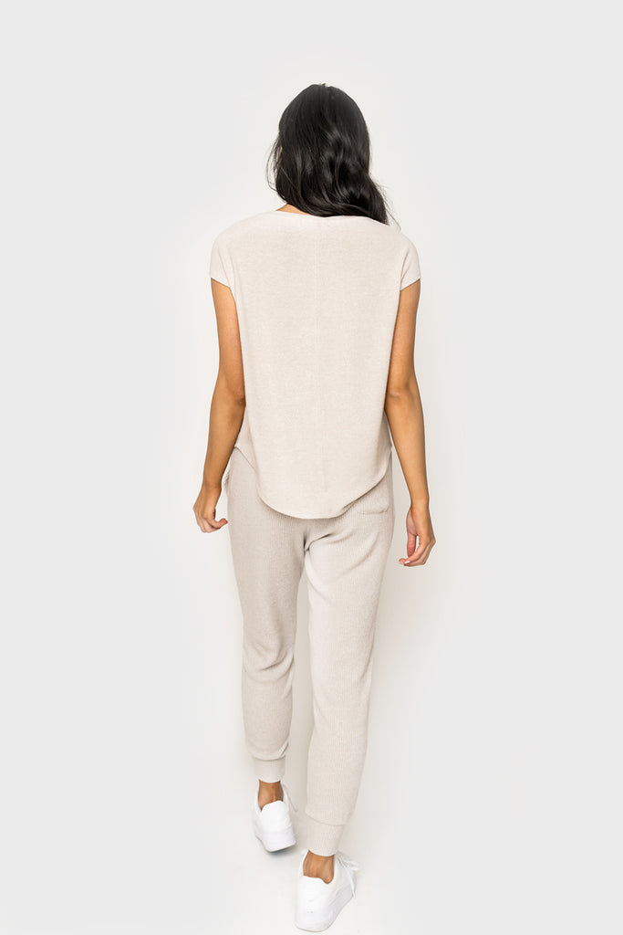 women wearing Chelsea Cozy Gathered Neck Cap Sleeve Top in oatmeal