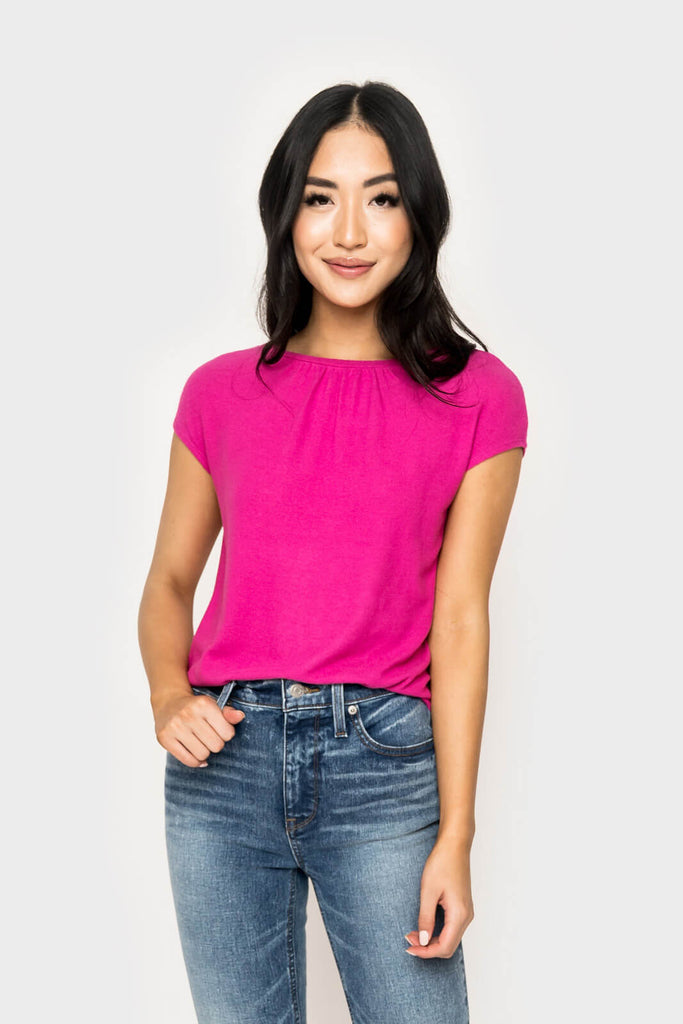 women wearing Chelsea Cozy Gathered Neck Cap Sleeve Top in ultra fuchsia