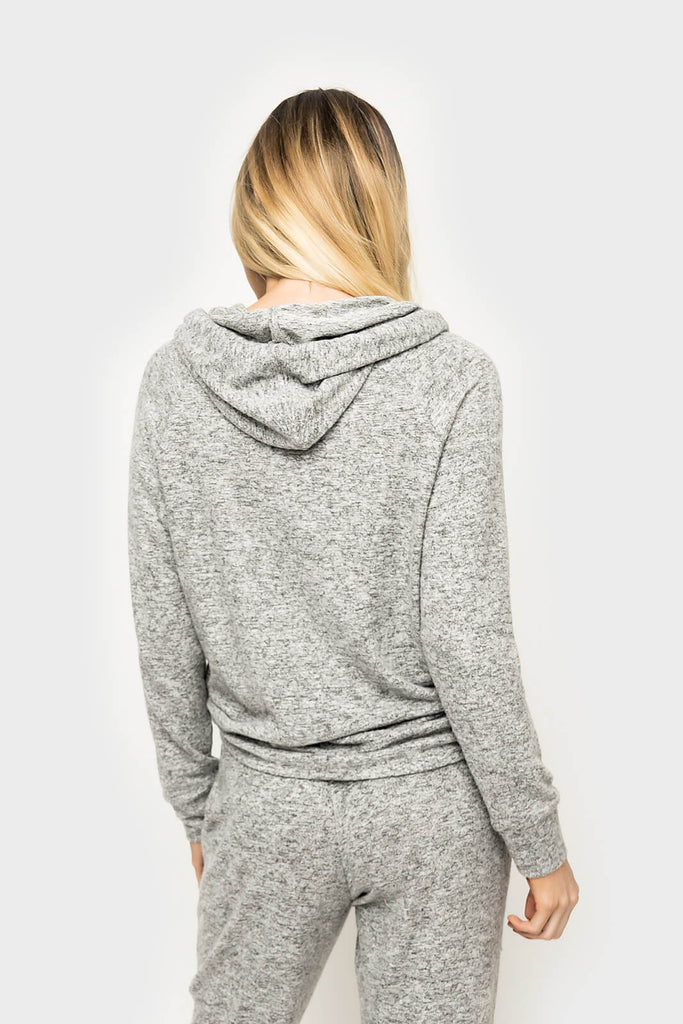 Women wearing Cabin Life Cozy Fleece Pullover Hoodie in heather grey