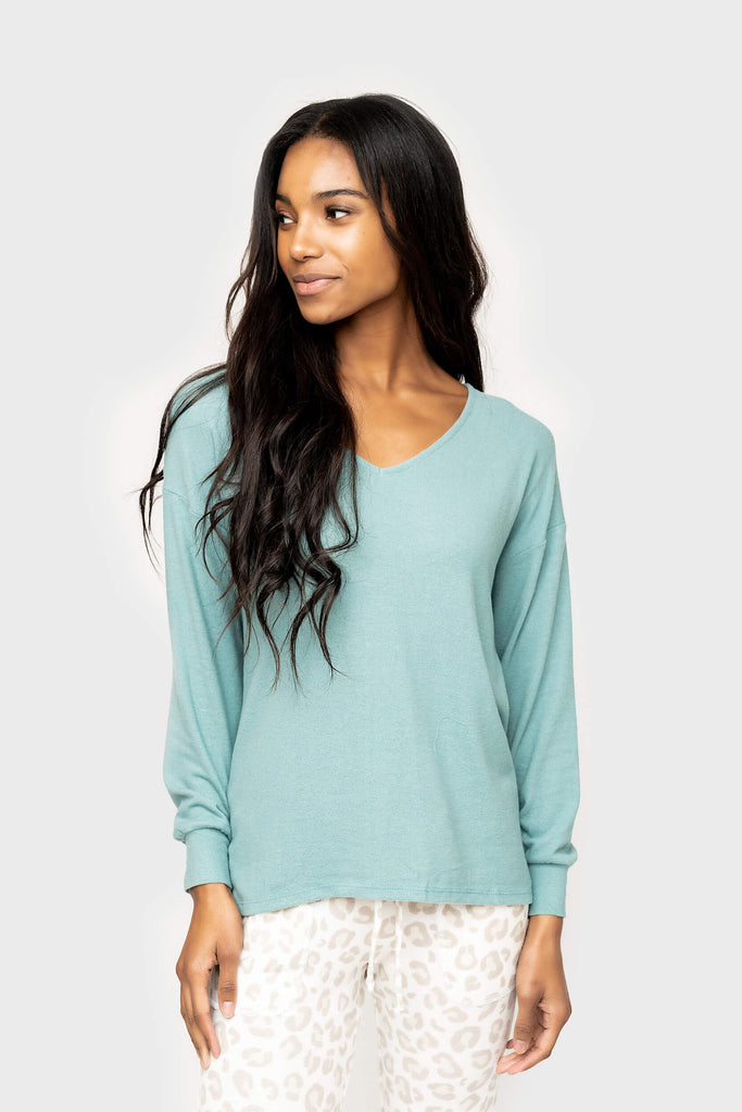 Women wearing Cabin Life Cozy Fleece V-Neck Tunic Top in Phoenix
