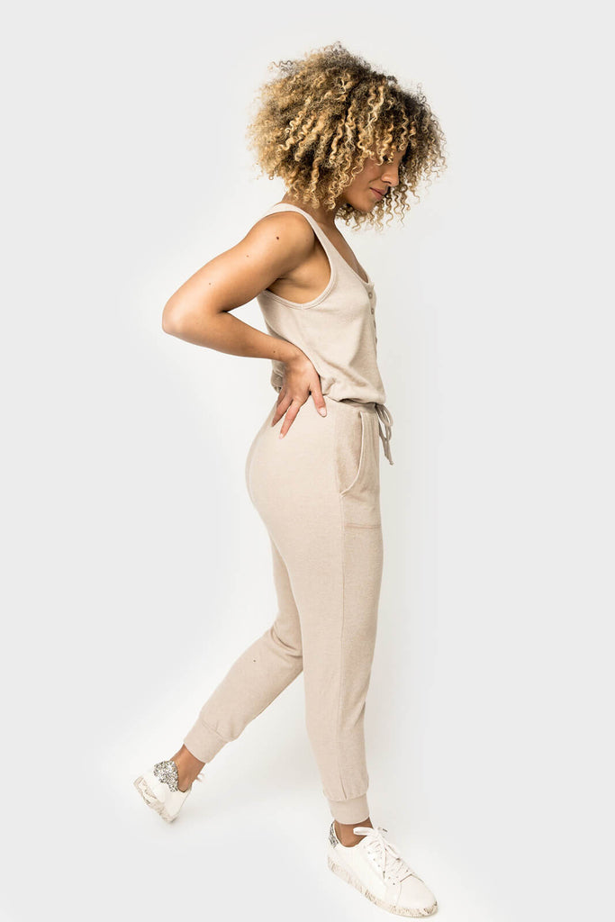 Women wearing Jennifer Henley Tank Jumpsuit in Almond