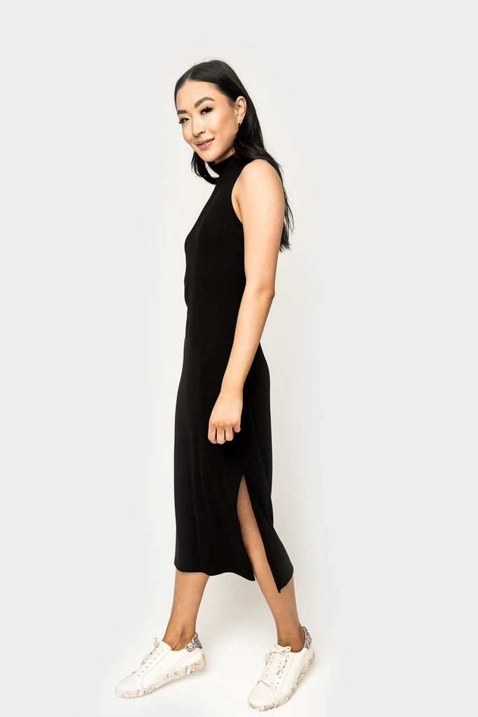 Mock Neck Luxe Knit Midi Dress