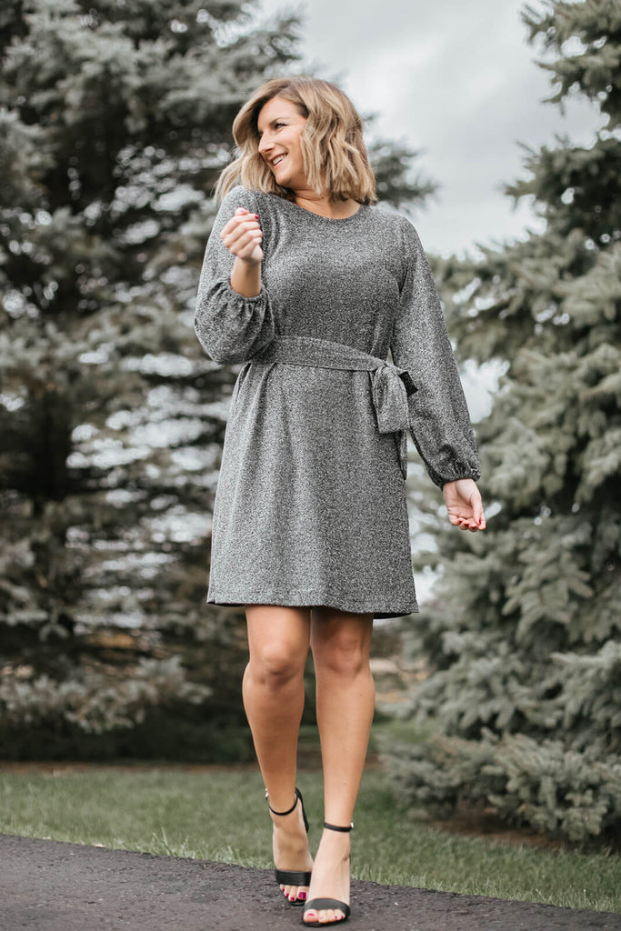 Living in Yellow in Sparkle Knit Blouson Sleeve Dress in silver
